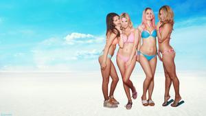 Selena Gomez, Ashley Benson, Rachel Korine, Vanessa Hudgens - Spring Breakers Bikini Special Wallpaper 1x